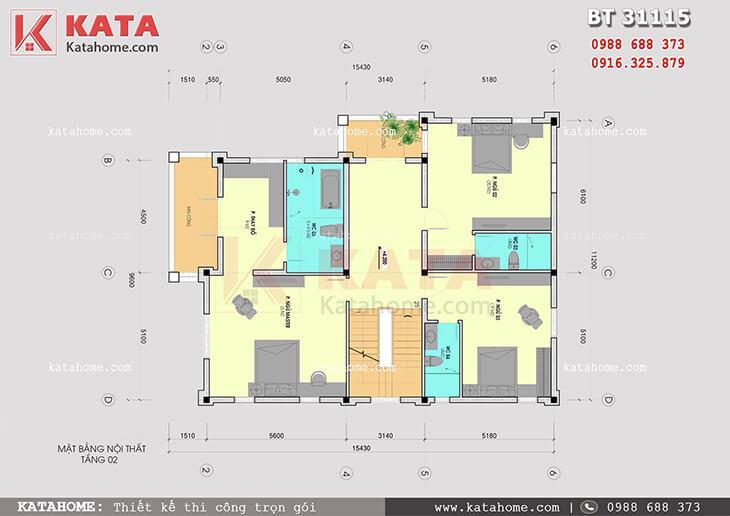 Mặt bằng công năng tầng 2 của mẫu nhà biệt thự 3 tầng tân cổ điển