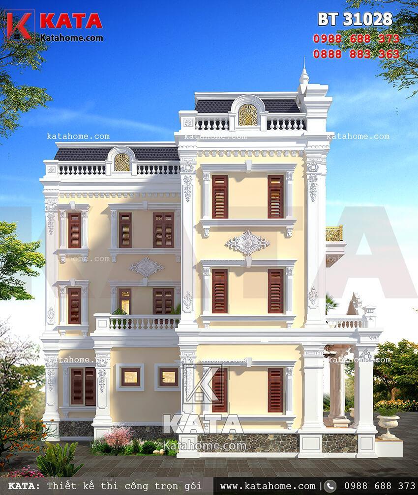 Mặt hông của mẫu thiết kế biệt thự vườn 3 tầng tân cổ điển