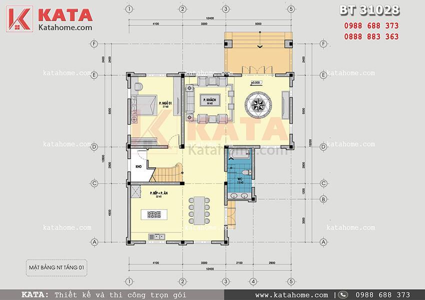 Mặt bằng tầng 1 của mẫu thiết kế biệt thự vườn 3 tầng tân cổ điển đẹp