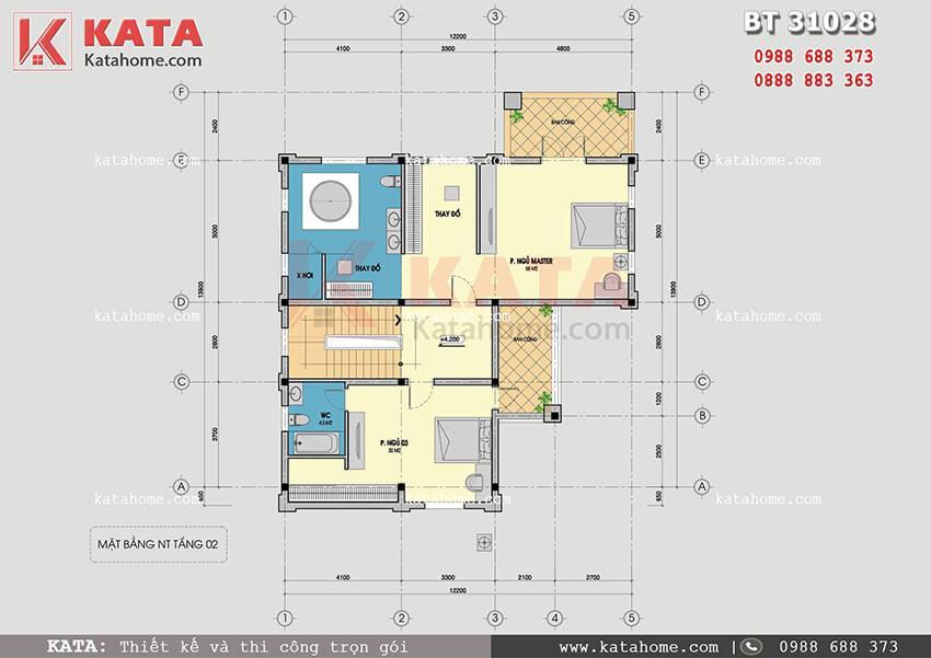 Mặt bằng tầng 2 của mẫu thiết kế biệt thự vườn 3 tầng tân cổ điển tại Quảng Ninh