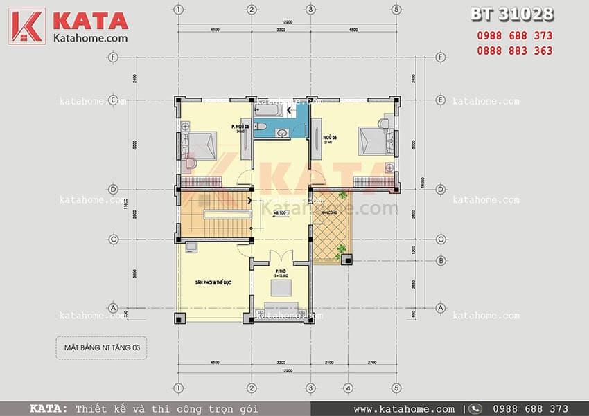 Mặt bằng tầng 3 của mẫu thiết kế biệt thự vườn 3 tầng tân cổ điển