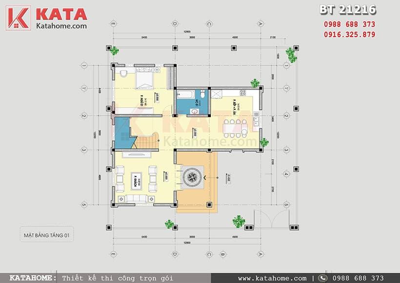 Mặt bằng sử dụng tầng 1 của mẫu biệt thự 2 tầng phong cách tân cổ điển có diện tích rộng rãi