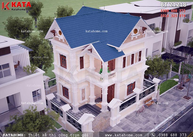 mẫu thiết kế biệt thự 2 tầng mái thái mặt tiền rồng 10m với diện tích 150m2
