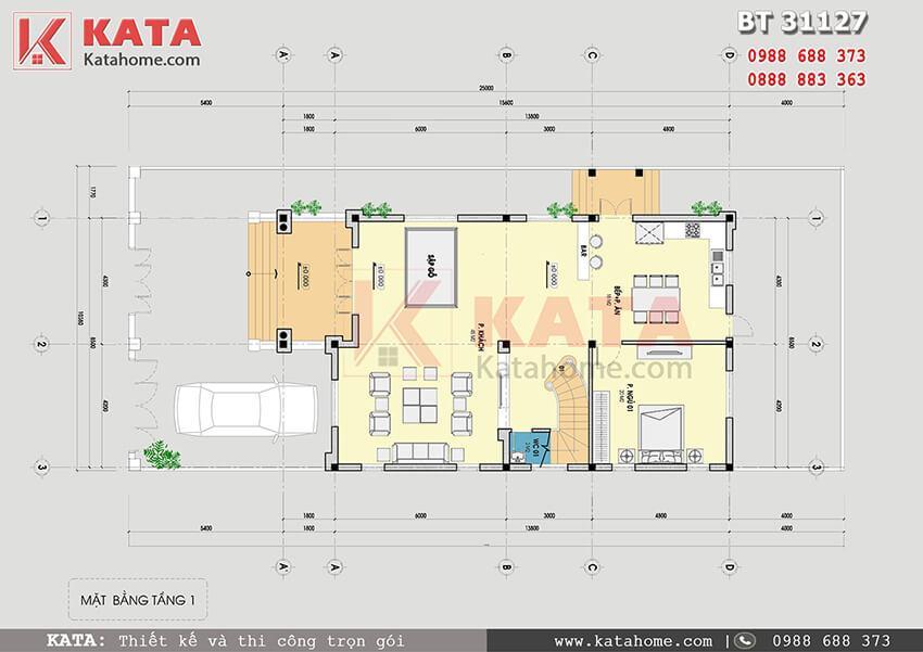 Mặt bằng biệt thự 3 tầng mái Thái tân cổ điển