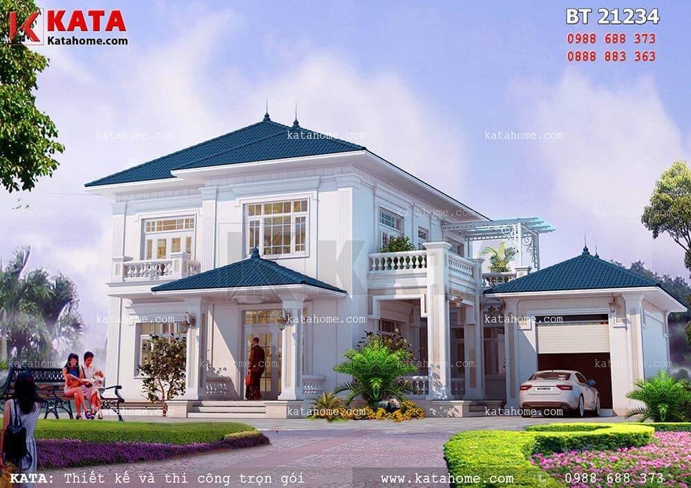 Mẫu biệt thự 2 tầng đẹp mái thái tại Bắc Ninh
