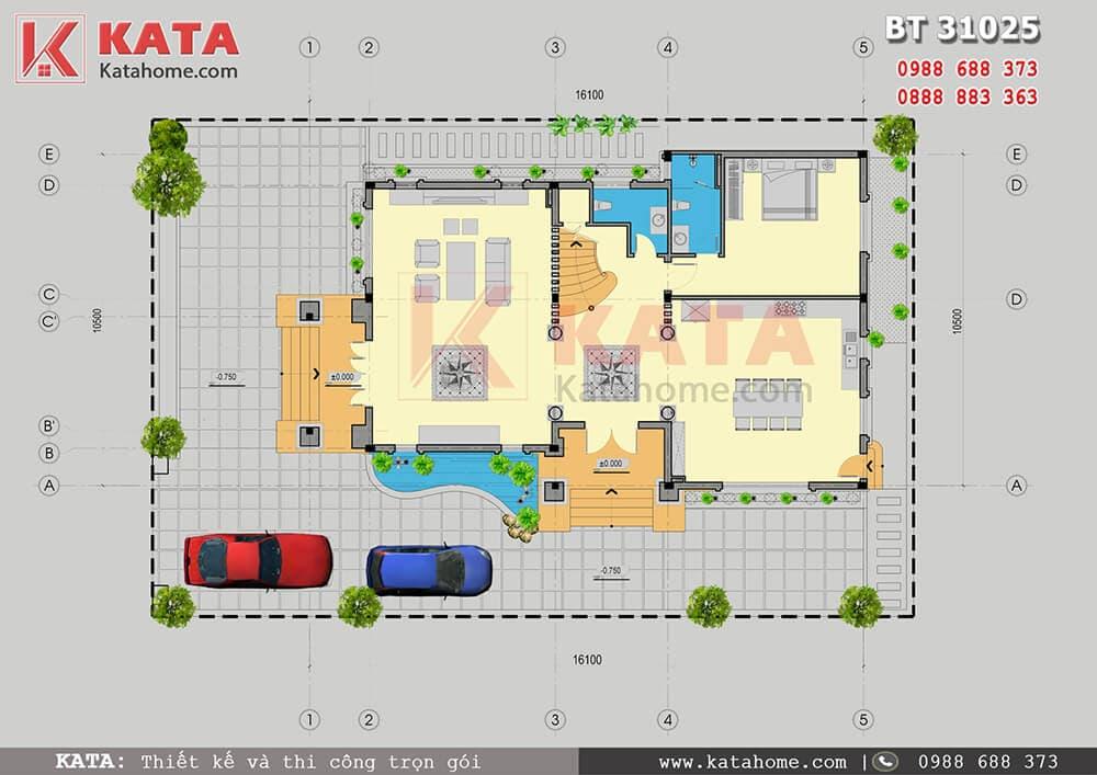 Mặt bằng công năng sử dụng tầng 1 của mẫu biệt thự đẹp 3 tầng mái Thái