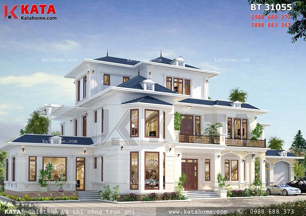 Mẫu thiết kế biệt thự 250m2 3 tầng mái Thái đẹp được thiết kế thoáng mái, sang trọng