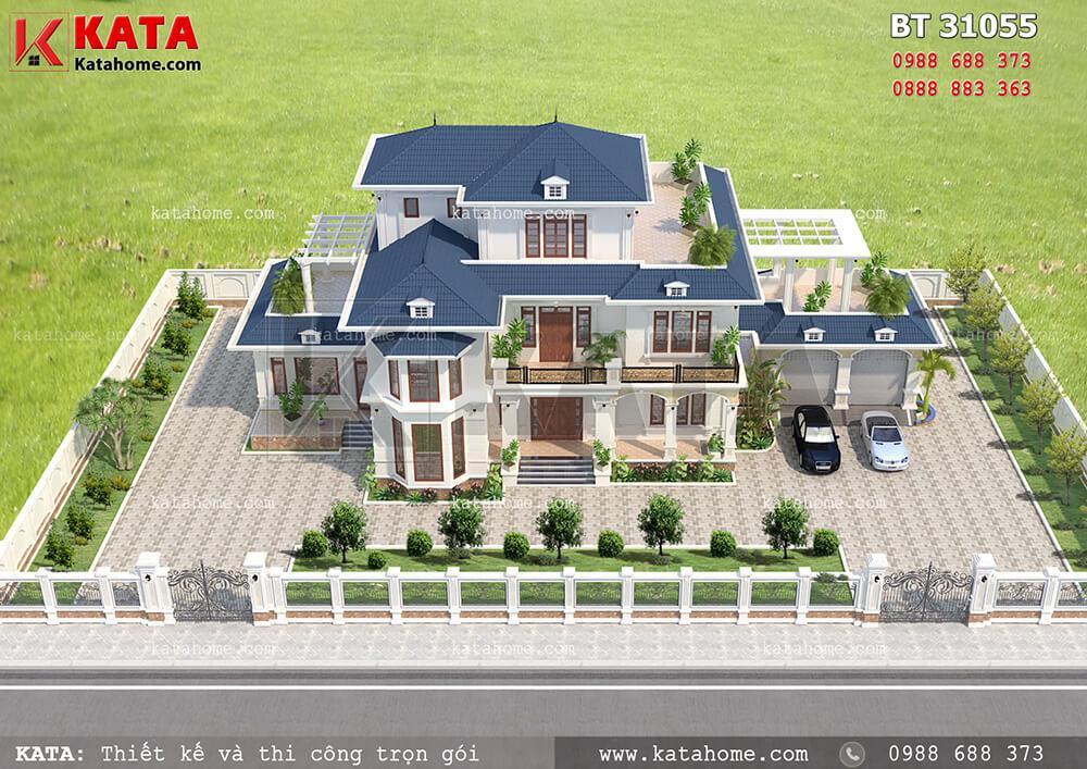 Phối cảnh tổng thể của mẫu thiết kế biệt thự 250m2 3 tầng mái Thái đẹp đẳng cấp