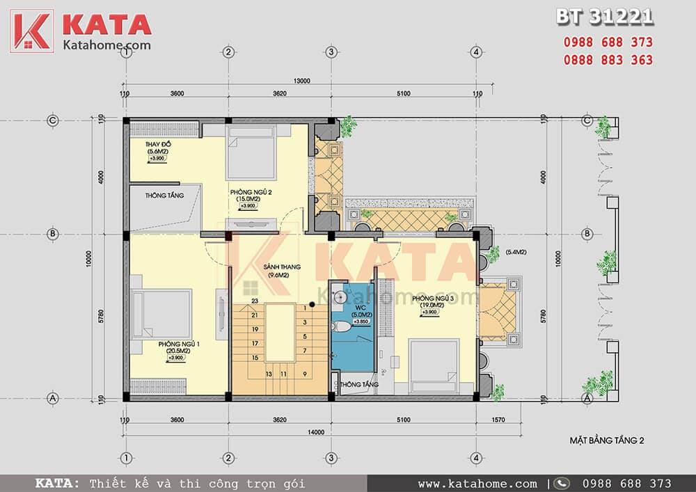 Mặt bằng công năng tầng 2 của mẫu nhà biệt thự phố 3 tầng