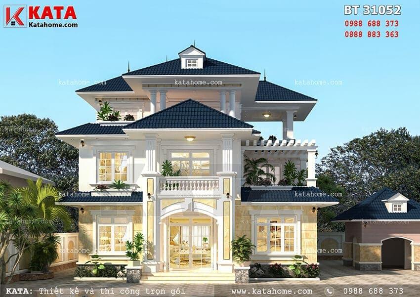 Mẫu thiết kế biệt thự đẹp 3 tầng mái Thái với phong cách hiện đại