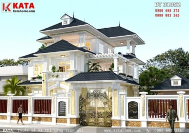 Mặt tiền mẫu thiết kế biệt thự hiện đại 3 tầng mái thái đẹp