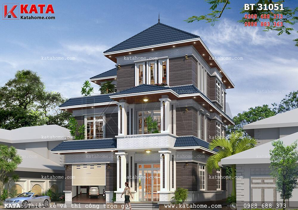 Mẫu thiết kế biệt thự 3 tầng hiện đại, kiến trúc mái Thái sang trọng cho gia đình gồm 3 thế hệ với nét đẹp quyến rũ