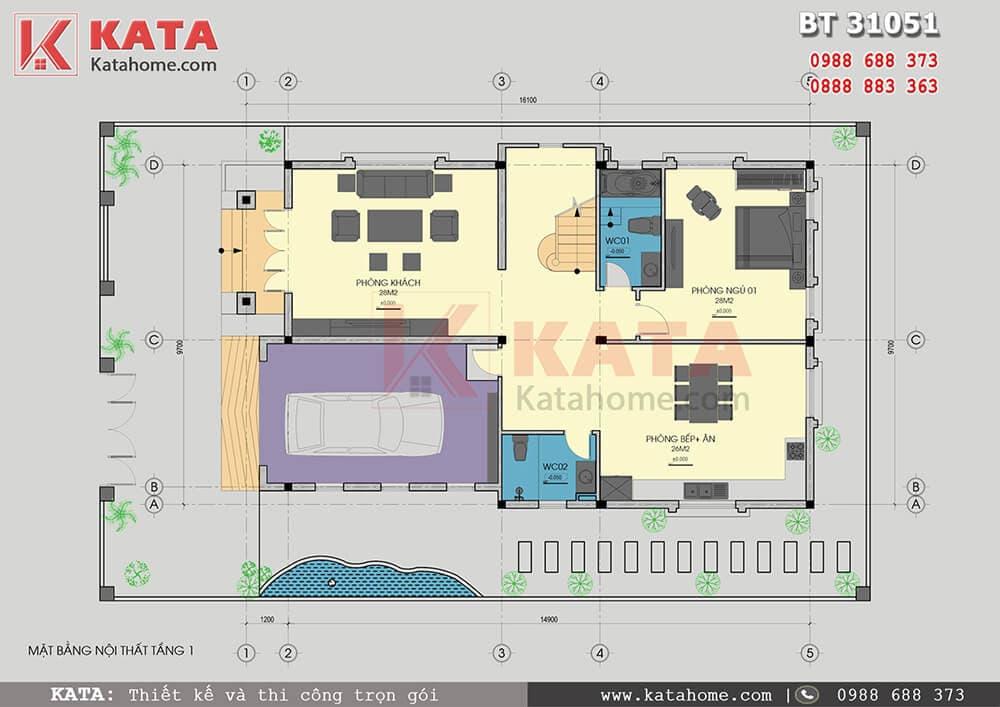 Mặt bằng bố trí nội thất mẫu thiết kế biệt thự đẹp 3 tầng hiện đại - Mã số: BT 31051