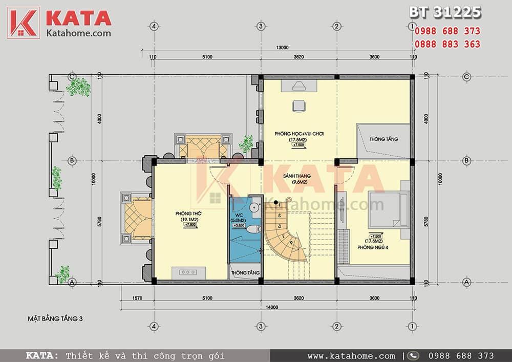 Công năng sử dụng tầng 3 của mẫu thiết kế biệt thự lâu đài 3 tầng cổ điển