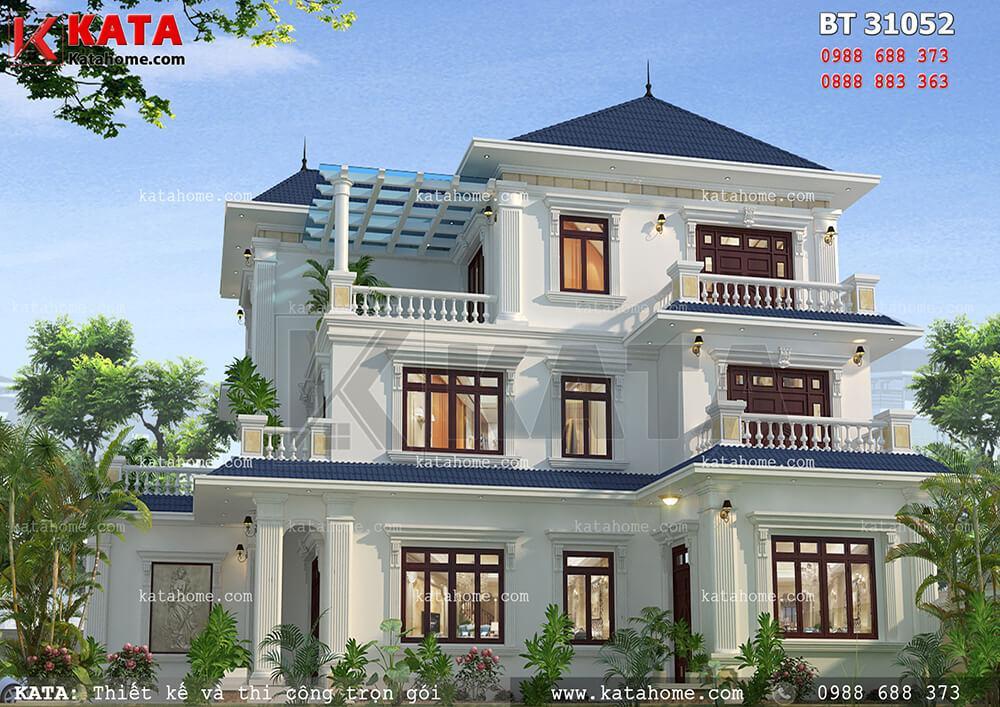 Các chi tiết được tối giản nhưng vẫn làm nổi bật nên nét tinh tế của mẫu thiết kế biệt thự mái Thái 3 tầng