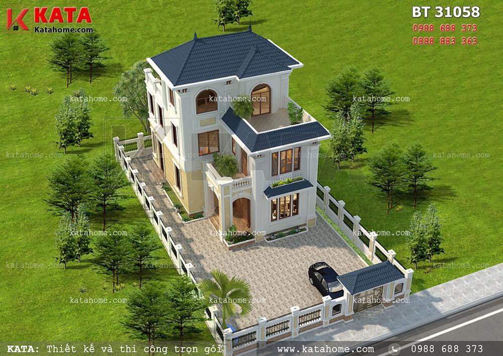 Mẫu biệt thự pháp đẹp 3 tầng mái thái