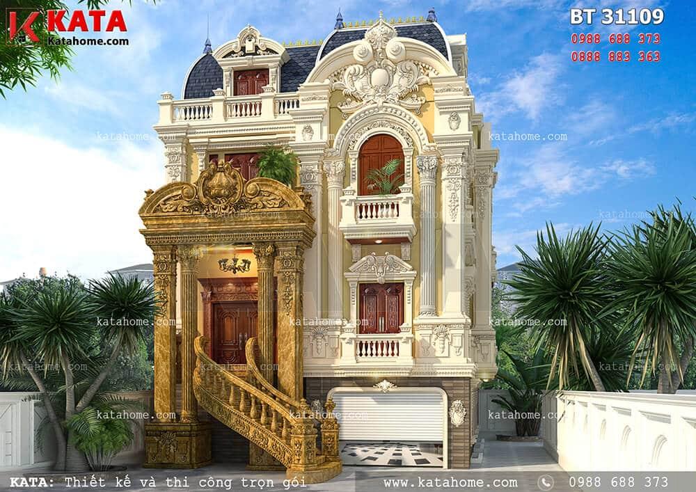 Bản vẽ thiết kế nhà ở 3 tầng tân cổ điển đẹp tại Hải Dương – Mã số: BT 31109