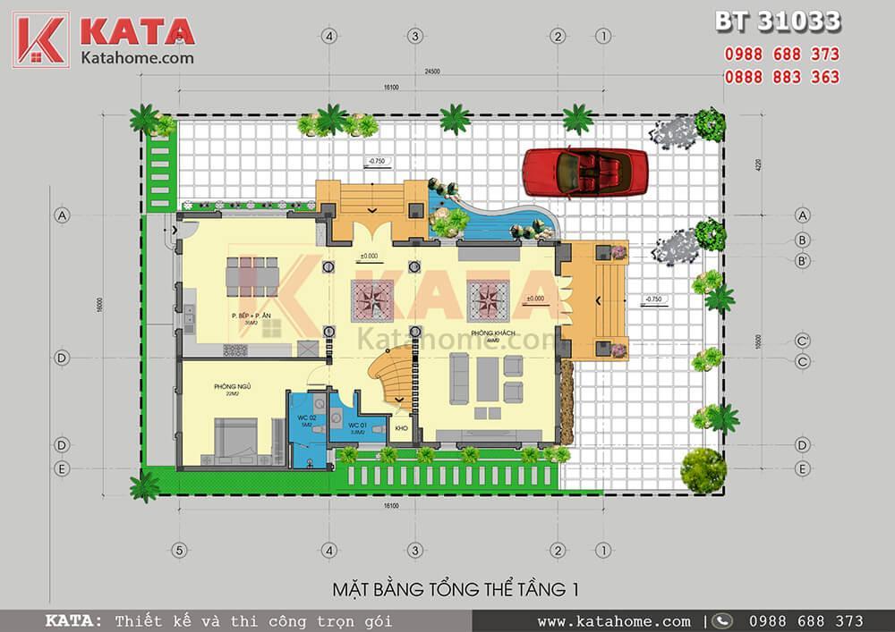 Mặt bằng tổng thể của mẫu thiết kế biệt thự đẹp 3 tầng