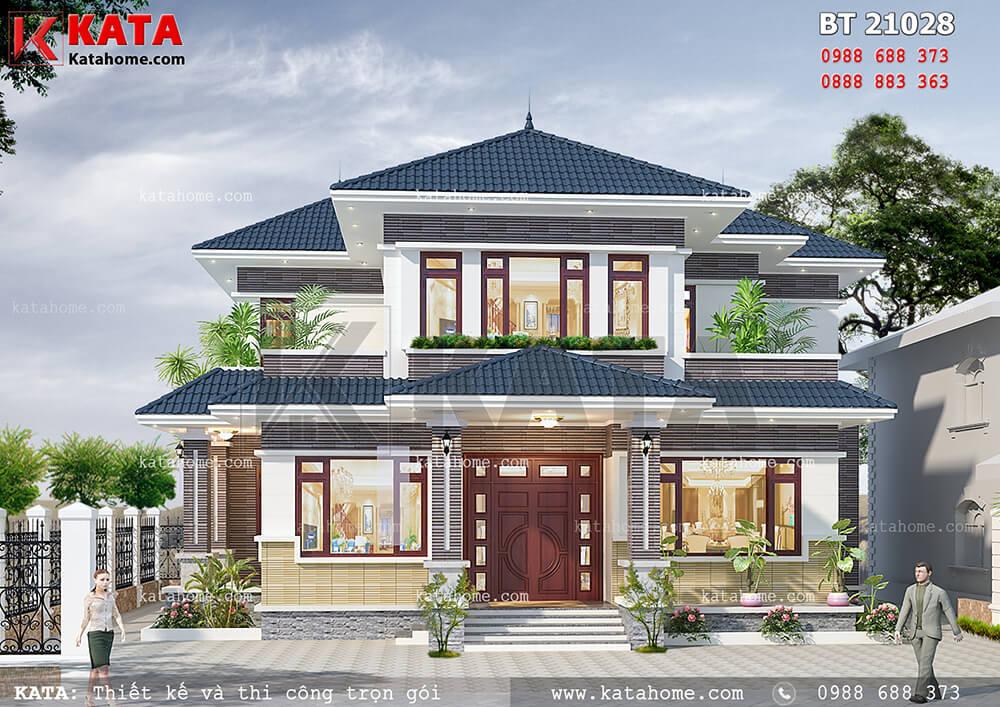 Mẫu nhà đẹp giá rẻ hiện đại 2 tầng mái Thái đẹp tại An Giang – Mã số: BT 21028