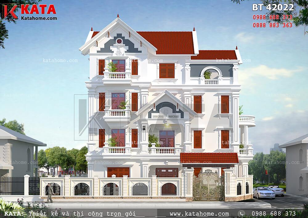 Phối cảnh mặt tiền vô cùng nổi bật với sắc đỏ tươi của căn biệt thự 4 tầng tân cổ điển tại Thanh Hóa