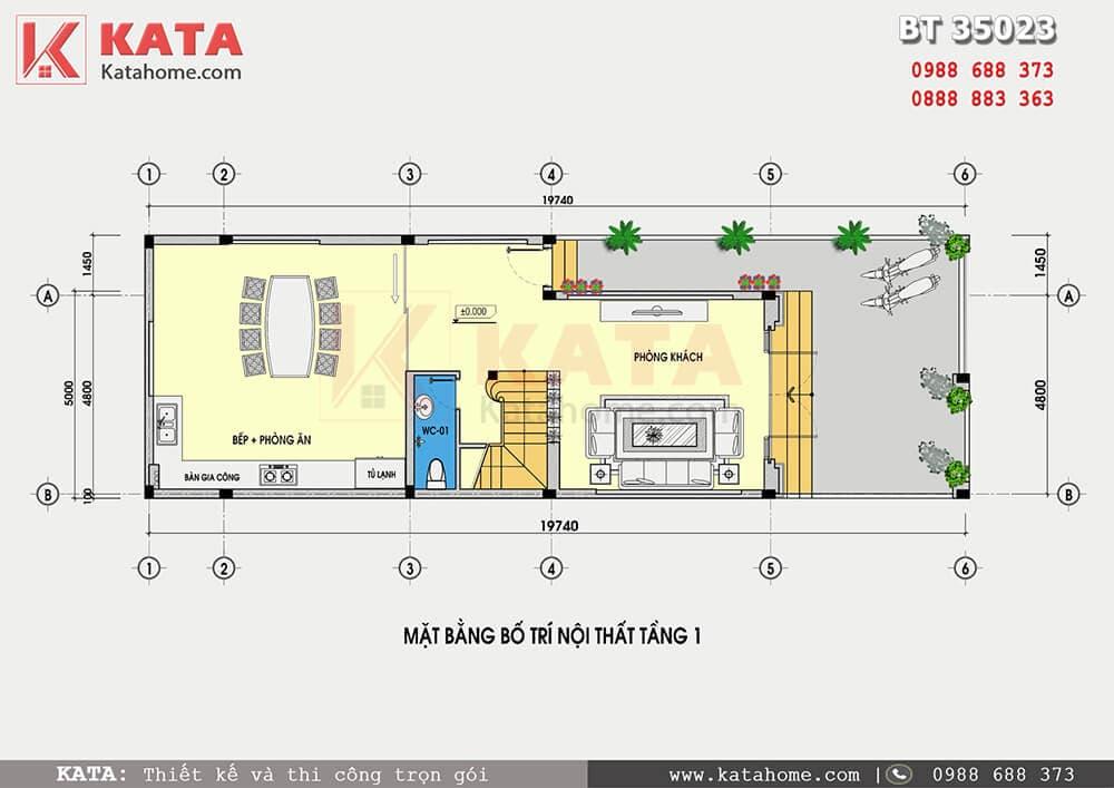 Mặt bằng công năng mẫu nhà ống 3 tầng mặt tiền 5m - Mã số: NP 35023