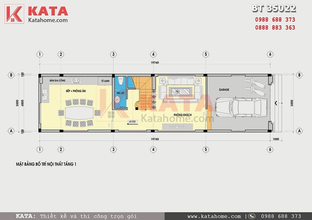 Mặt bằng công năng của mẫu nhà phố 3 tầng tân cổ điển - Mã số: NP 35022