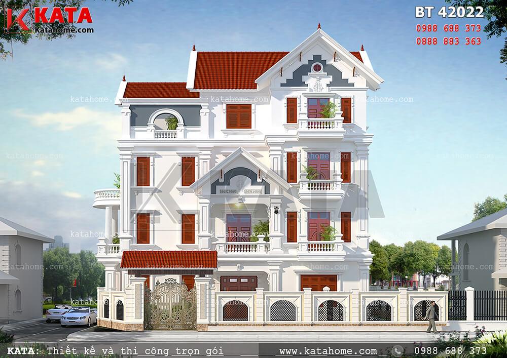 Mẫu biệt thự 4 tầng tân cổ điển đẹp với phong cách Châu Âu - BT 42022 2