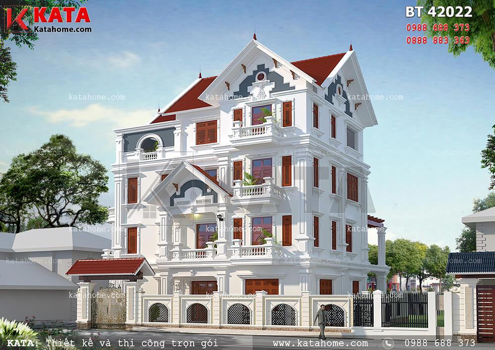 Các chi tiết kiến trúc Châu Âu sang trọng và đẳng cấp của mẫu biệt thự 4 tầng tân cổ điển