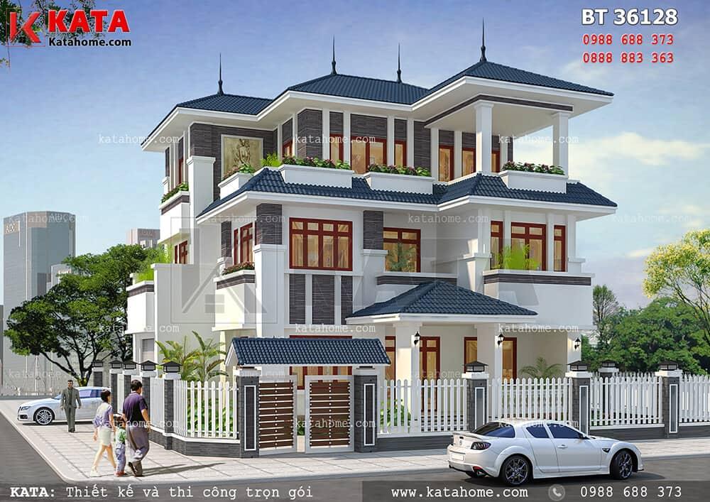 Tổng thể kiến trúc ngoại thất của mẫu biệt thự 3 tầng 2 mặt tiền đẹp tại Nghệ An - Mã số: BT 36128
