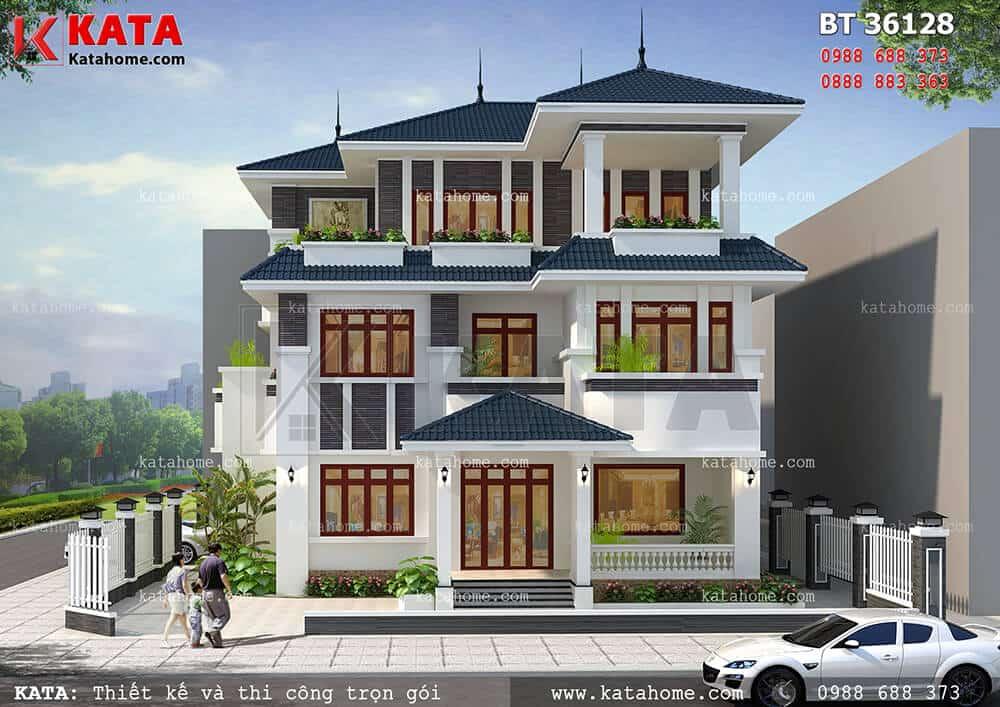 Sự nhẹ nhàng trong thiết kế mang lại cho mẫu biệt thự mái thái 3 tầng 2 mặt tiền đẹp hoàn hảo