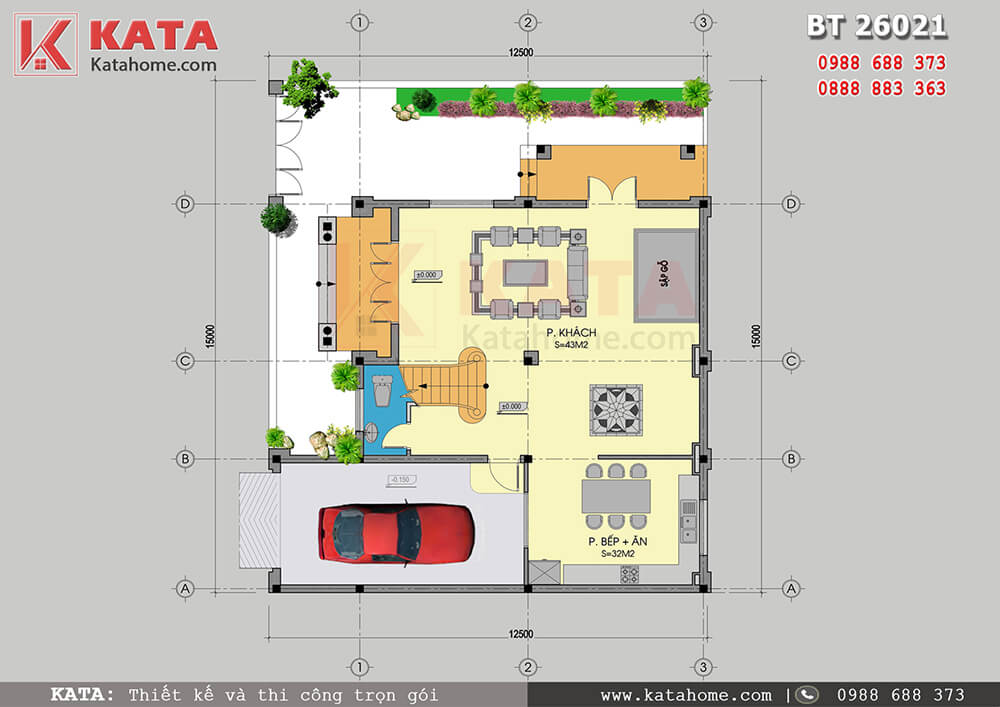 Thiết kế biệt thự lâu đài 2 tầng đẹp tại Móng Cái - Mã số: BT 26021 (5)