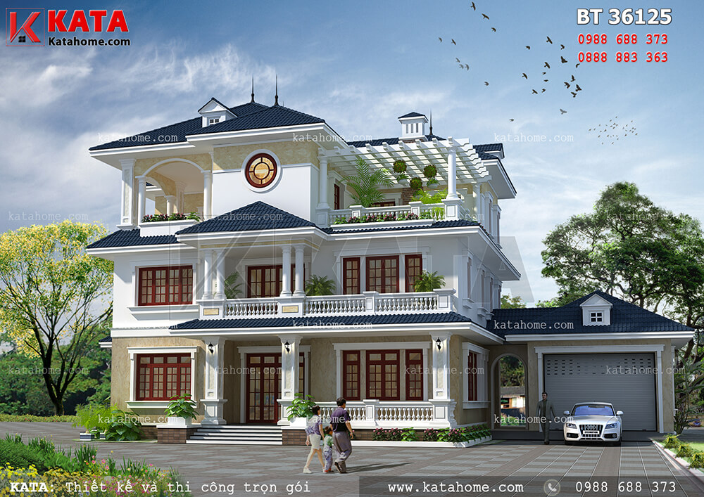 Thiết kế biệt thự mái thái 3 tầng đẹp tại Lai Châu – Mã số: BT 36125