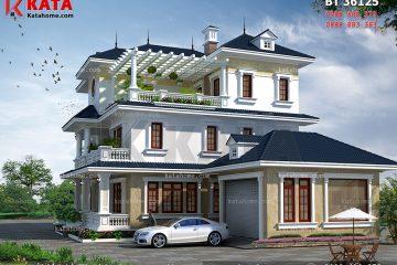 mẫu biệt thự vườn mái thái 3 tầng đẹp