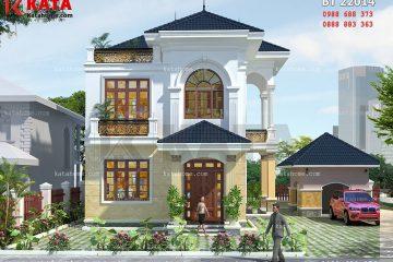 Phối cảnh sảnh chính của mẫu nhà vườn 2 tầng mái Thái kiến trúc hiện đại