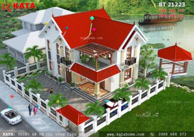 Phối cảnh tổng thể của mẫu nhà mái Thái 2 tầng đơn giản