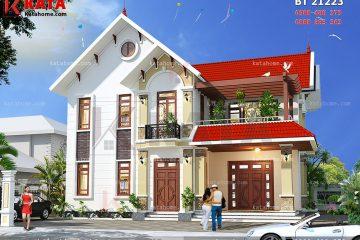 Phối cảnh mặt tiền của mẫu thiết kế biệt thự mái Thái 2 tầng đơn giản