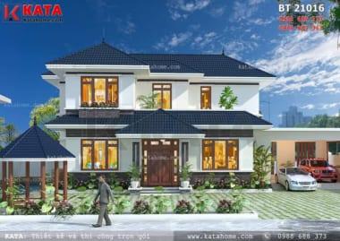 Phối cảnh mặt tiền của mẫu biệt thự 2 tầng sân vườn tại Lào Cai