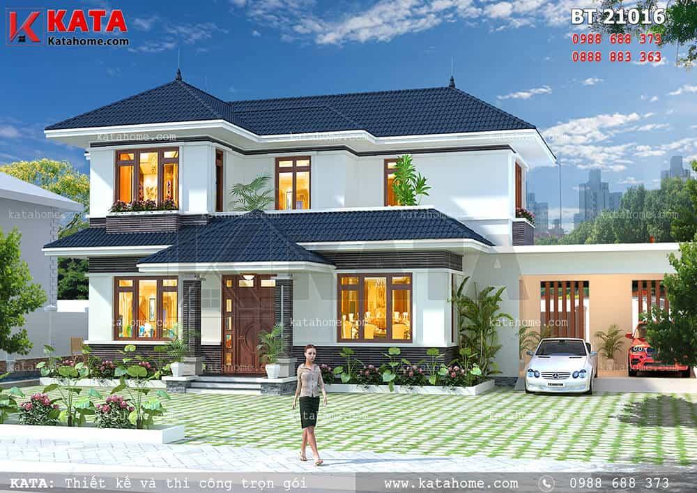 Thiết kế biệt thự 2 tầng trên mảnh đất 400m2 có sân vườn tại Lào Cai