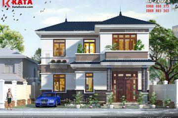 Mặt tiền của mẫu thiết kế biệt thự nhà vườn 2 tầng tại Quảng Bình