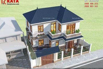 Tổng thể của mẫu thiết kế nhà vườn 2 tầng đẹp được nhìn từ trên cao xuống