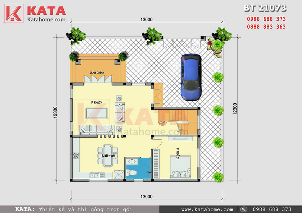 Mặt bằng công năng của mẫu thiết kế biệt thự vườn 2 tầng