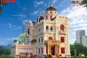 Phối cảnh chi tiết của mẫu thiết kế biệt thự lâu đài 3 tầng đẹp tại Ninh Bình - Mã số: BT 31018