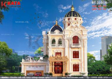 Mặt tiền sang trọng, đẳng cấp của mẫu thiết kế biệt thự lâu đài 3 tầng đẹp
