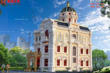 Các chi tiết trang trí cho mẫu thiết kế biệt thự lâu đài 3 tầng được thiết kế tỉ mỉ, kỳ công, đối xứng