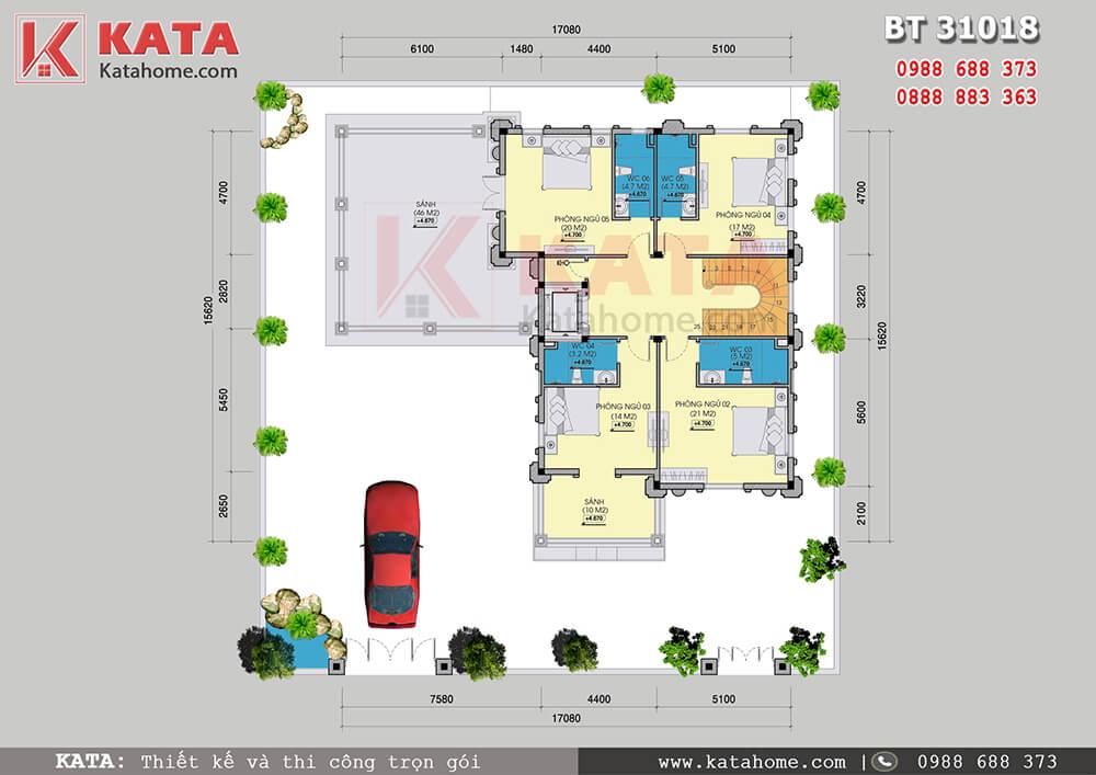 Mặt bằng công năng tầng 2 của mẫu thiết kế biệt thự lâu đài 3 tầng đẹp - Mã số: BT 31018