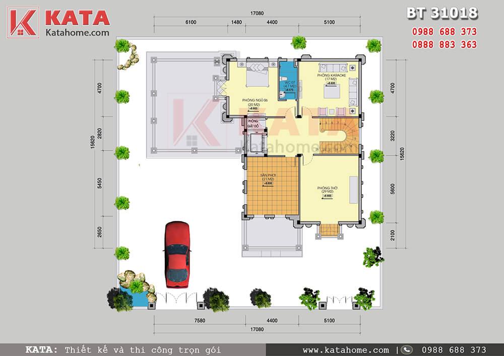 Mặt bằng tầng 3 của mẫu thiết kế biệt thự lâu đài 3 tầng đẹp tại Ninh Bình