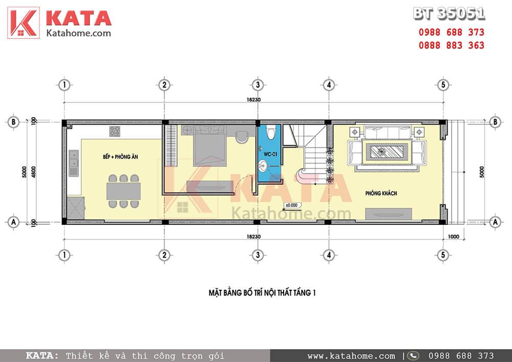 Mặt bằng thiết kế nhà phố 5mx18m