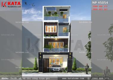mẫu nhà phố 4 tầng đẹp có gara NP 45054