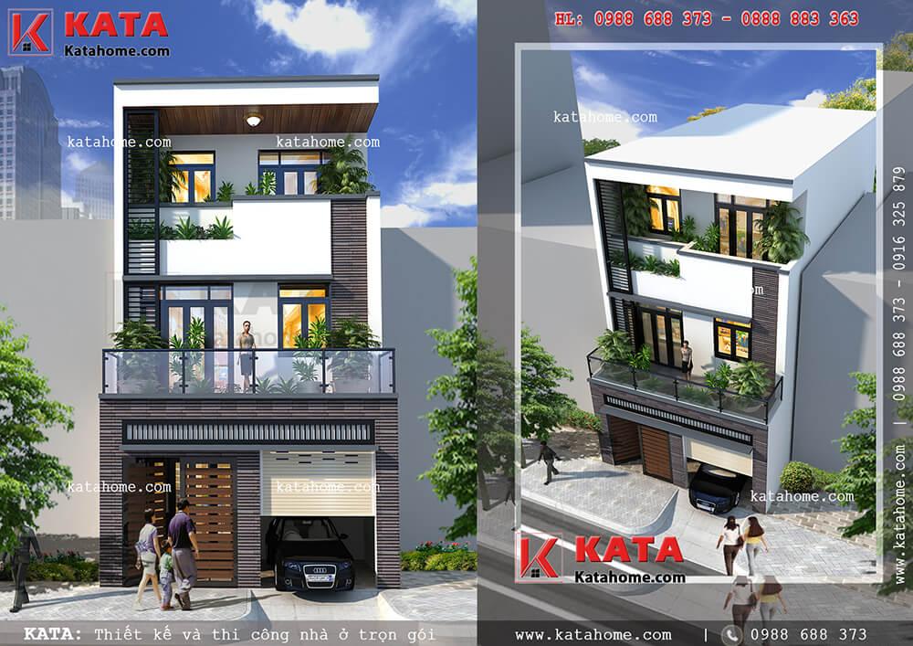 Thiết kế nhà ống 3 tầng có gara tại Thái Nguyên – Mã số: NP 35060