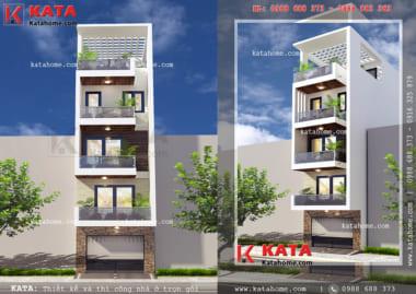 Mẫu thiết kế nhà lô phố 5 tầng đẹp với mặt tiền 5m tại Hải Dương